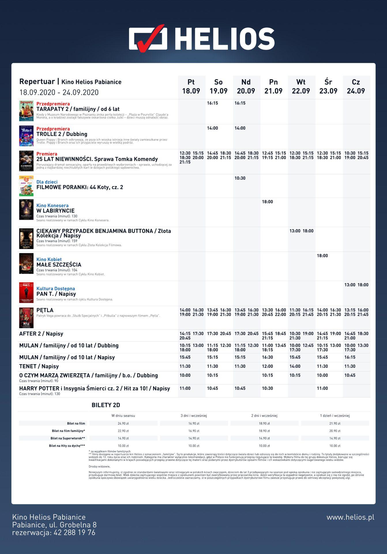 Repertuar kina Helios od 18 września