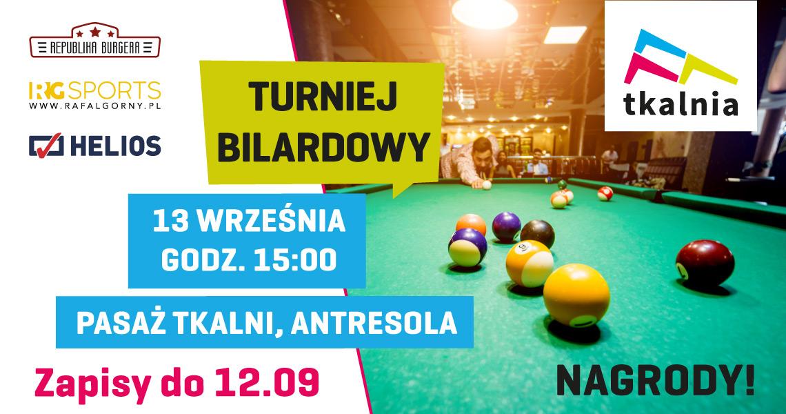13 wześnia odbędzie się turniej bilardowy w Tkalni