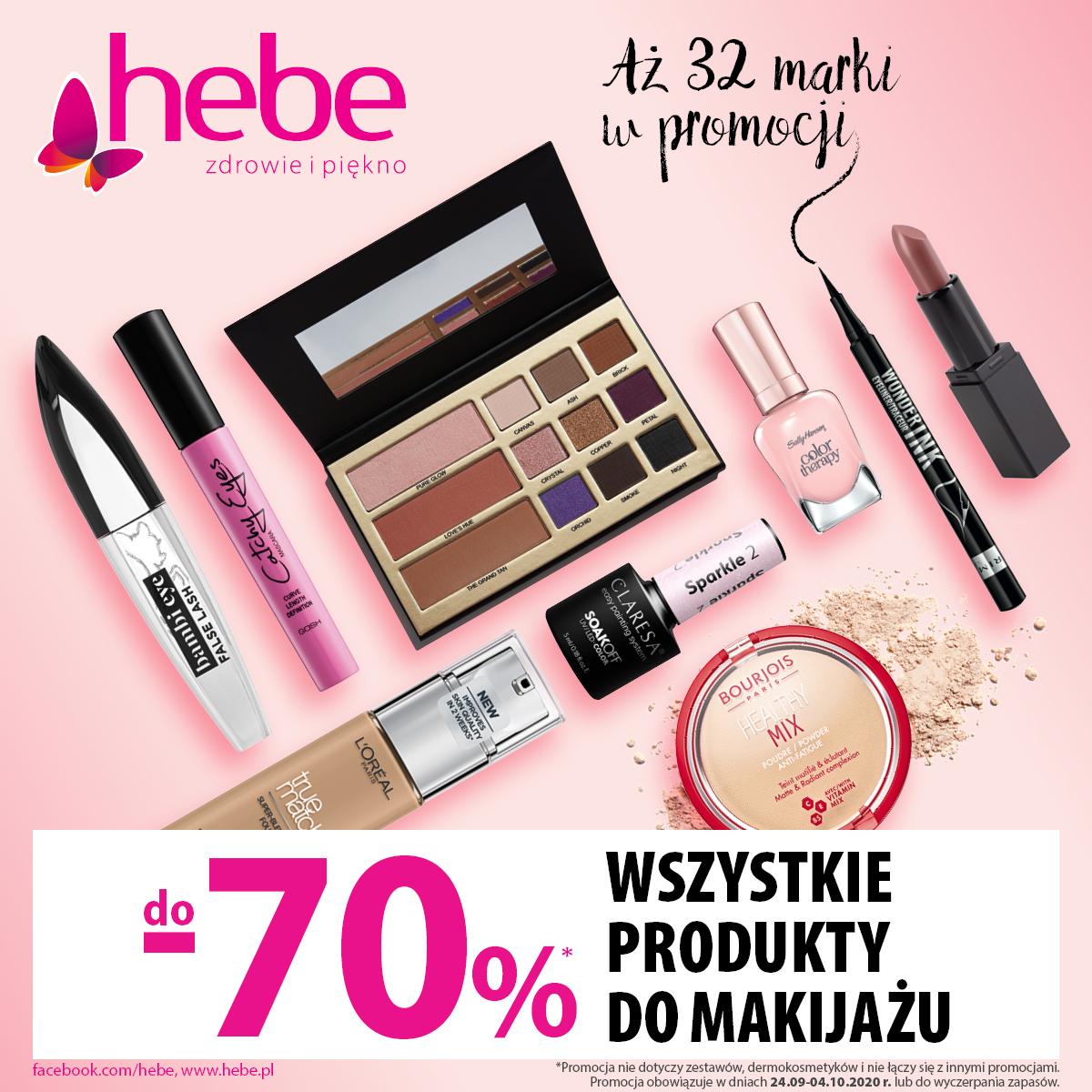 Promocja w Hebe w Tkalni: aż do -70% na WSZYSTKIE produkty do makijażu
