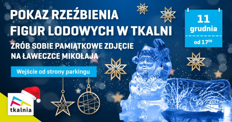 Pokaz rzeźbienia figur lodowych w Tkalni