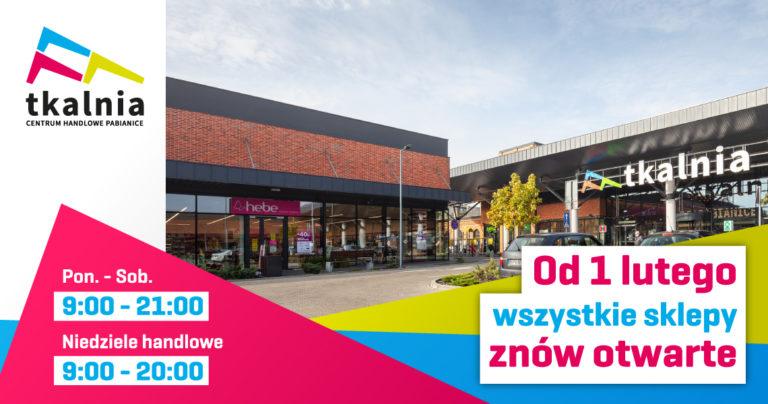 Od 1 lutego sklepy w Tkalni znów otwarte